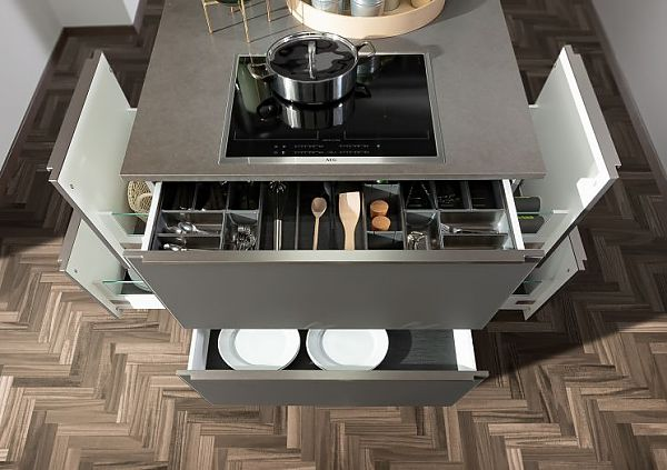 GLAS Anthracite satin-finished combined with GLAS Premium white Drawers