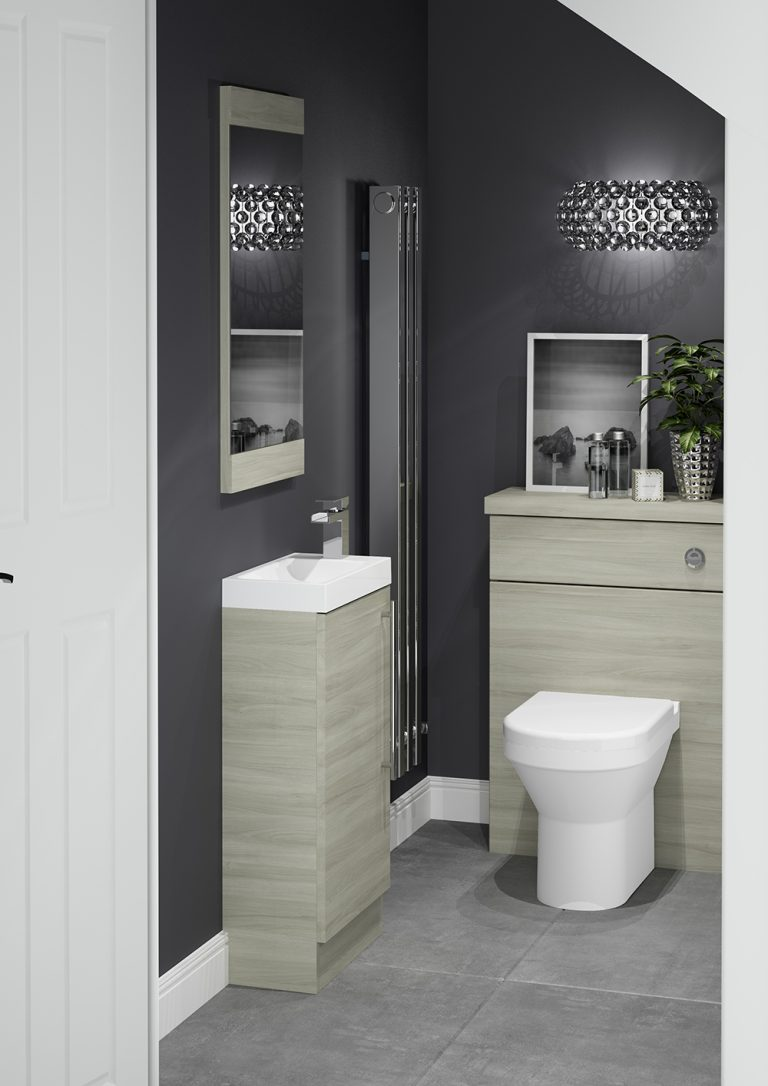 MM Mode Silver Elm Cloakroom Toilet and Sink