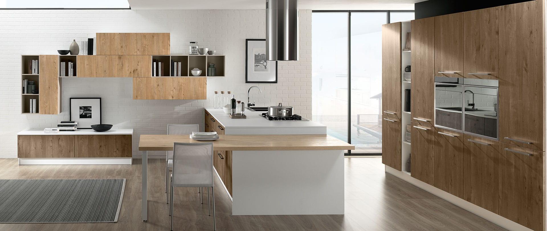 Modern Kitchen Brio - Sapin Natural and Sapin Terre