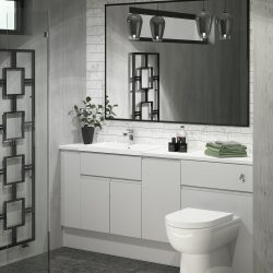 Fitted Pearl Grey Bathroom J-PULL Doors and Drawers